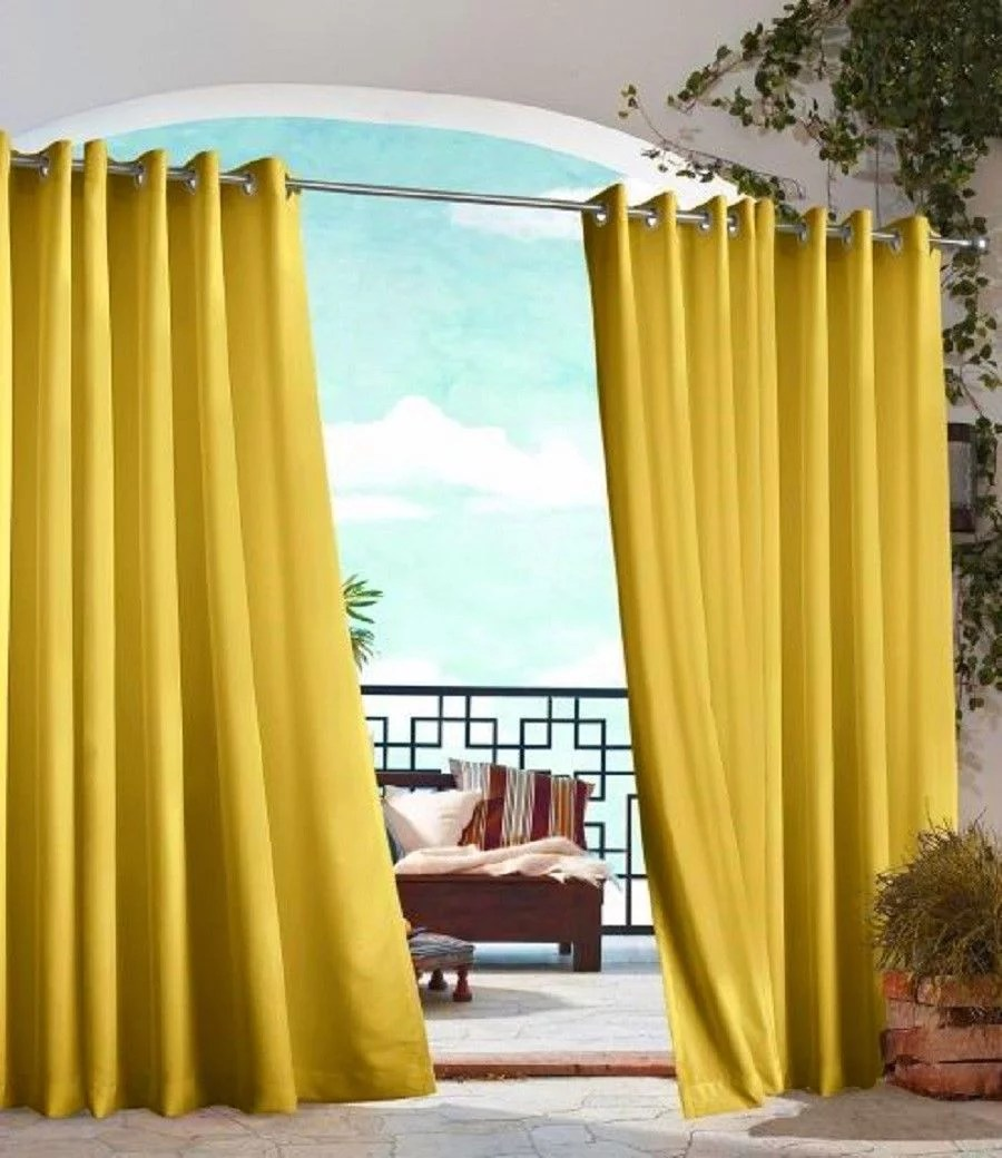 yellow 2 piece outdoor thermal blackout grommet patio curtain panels set two 2 panels 35 x 63 each k68