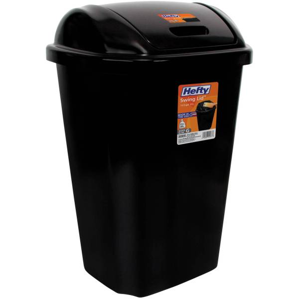Hefty Swing Lid 13.5 Gallon Trash Black Waste Basket Garbage Bin Kitchen