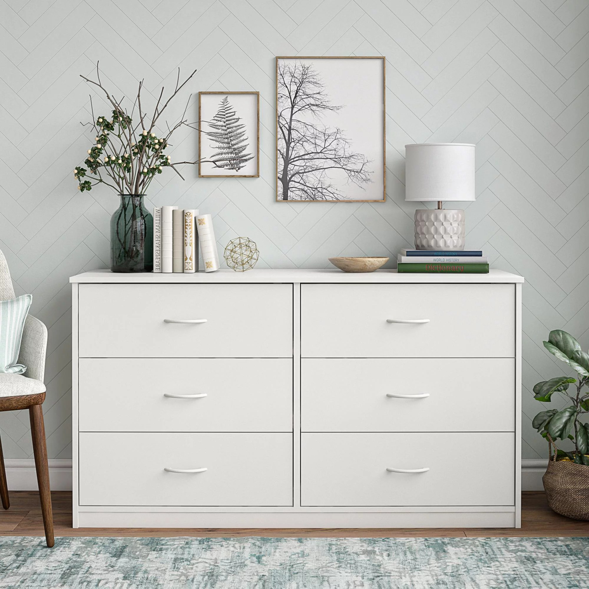 mainstays classic 6 drawer dresser white finish walmart com