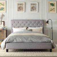INSPIRE Q Kingsbury Grey Linen Tufted Upholstered Platform ...
