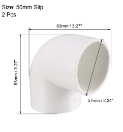 50mm slip 90 degree pvc pipe fitting elbow coupling connector 2 pcs [ 2000 x 2000 Pixel ]