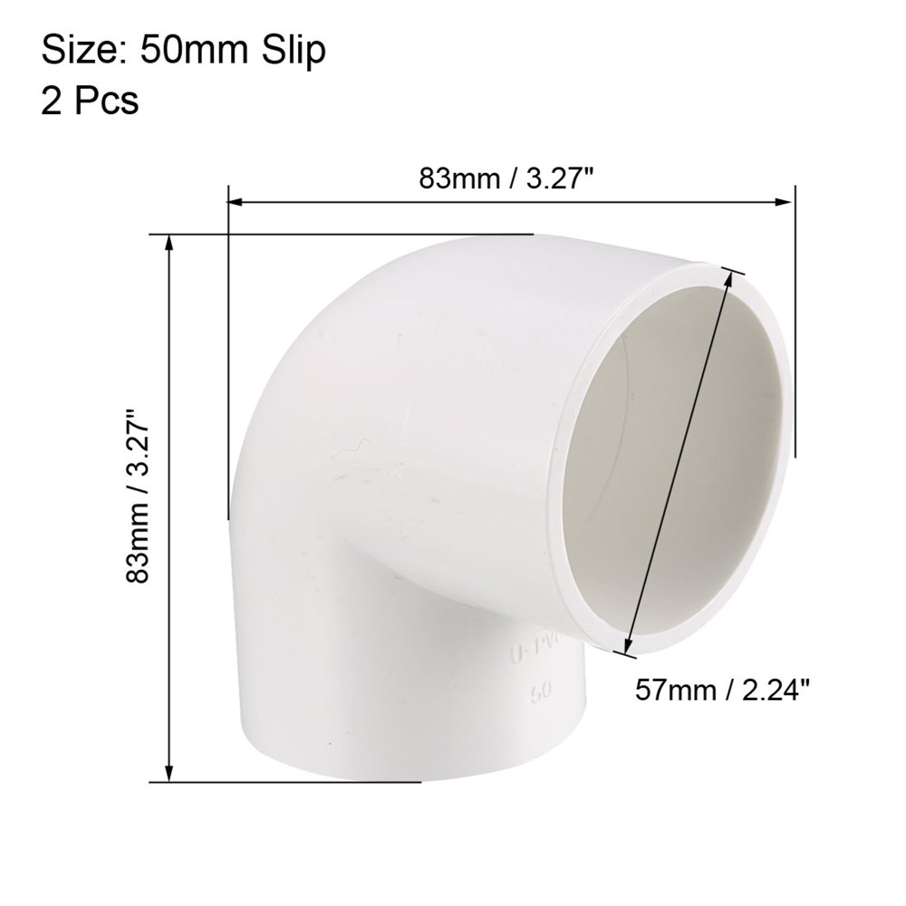 medium resolution of 50mm slip 90 degree pvc pipe fitting elbow coupling connector 2 pcs