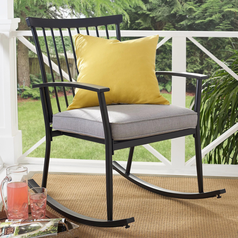better homes gardens shaker black steel outdoor patio rocking chair gray