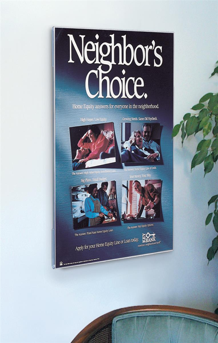 non glare acrylic poster frame displays 36 x 48 inch graphics wall mounted vertical display slide in side loading frameless design wmph3648