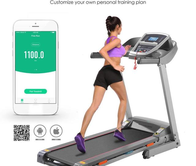 Electric Treadmill With Incline G Fit App Control Two Manual Incline Position 3 5 Folding Tread Mill Running Fitness Machine For Home Gym250lbs