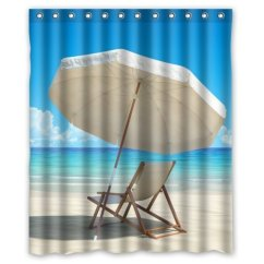 Beach Chair Bathroom Accessories Round Lounge Greendecor Waterproof Shower Curtain Set With Hooks Size 60x72 Inches