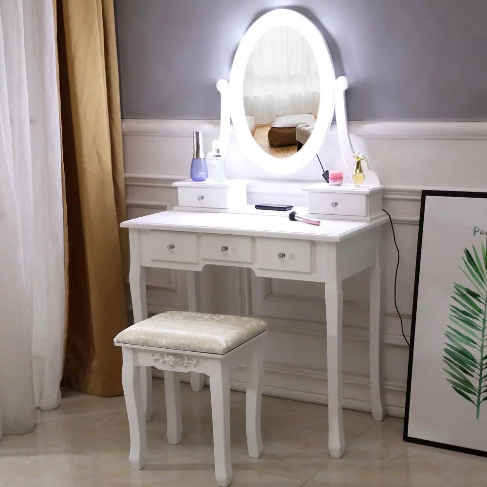 ktaxon vanity table 10 led lights 5 drawers makeup dressing desk with cushioned stool set bedroom vanities set white walmart com
