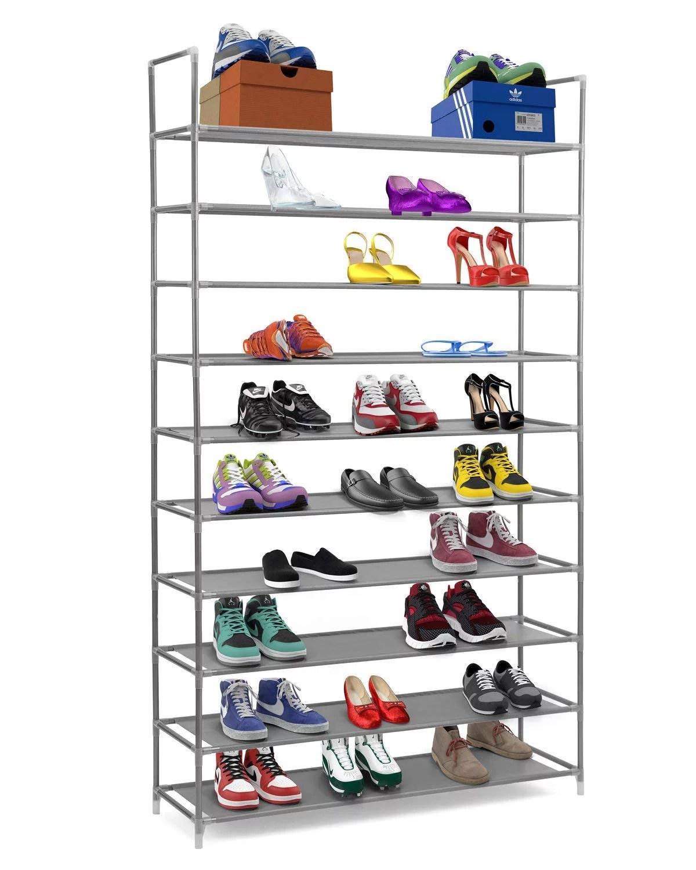 ktaxon shoe rack 50 pairs tower organizer cabinet storage black gray