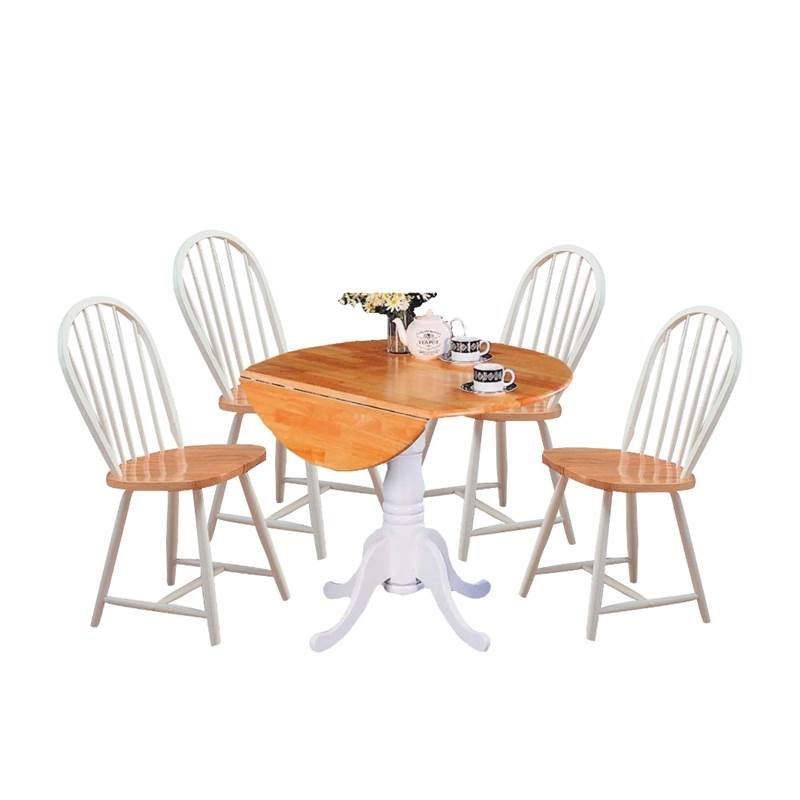 cottage style chairs bedroom chair crushed velvet 5 piece dining set with and table in white natural walmart com