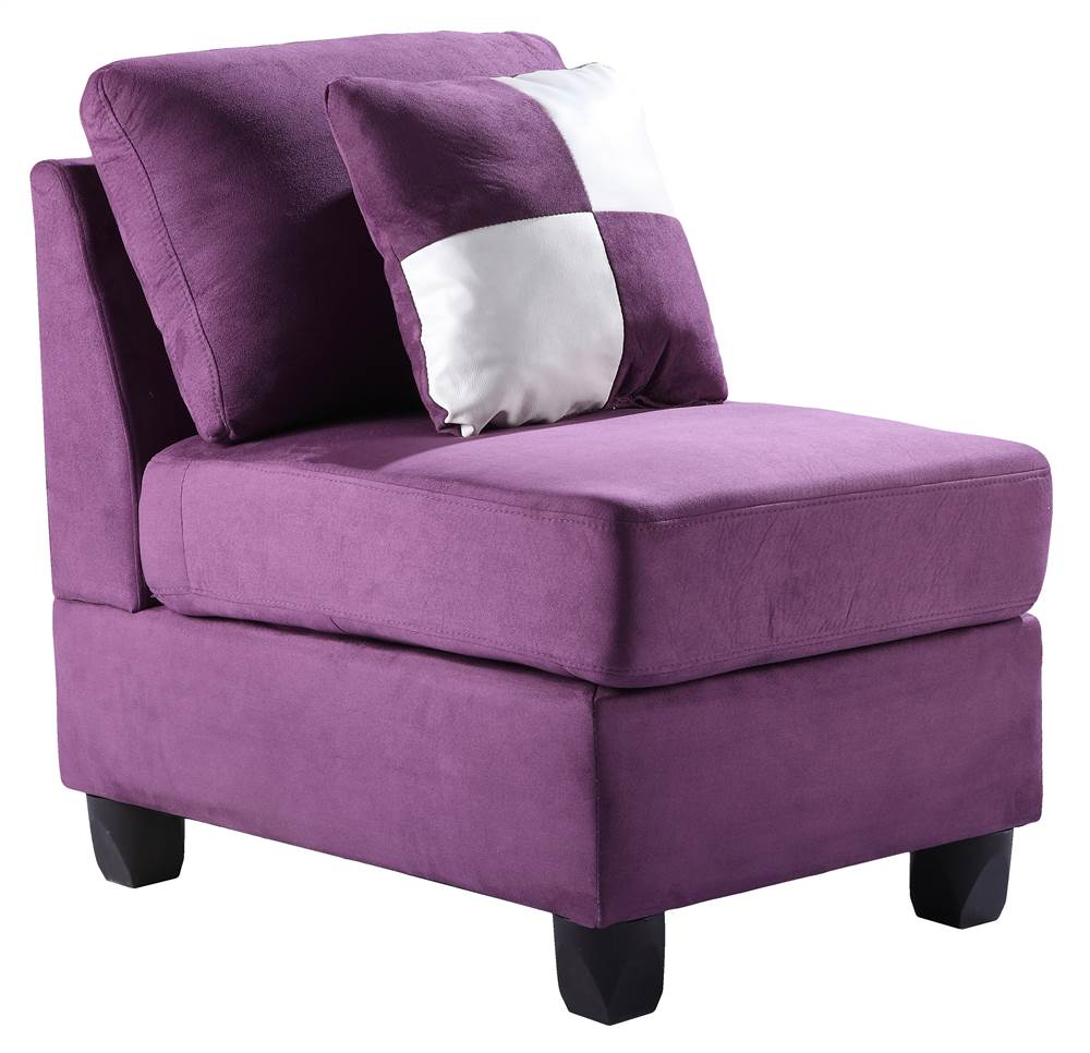 Armless Accent Chair in Purple