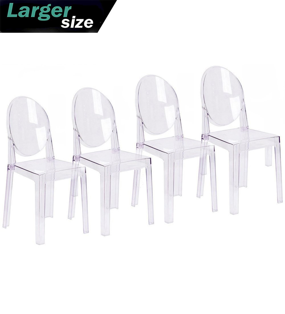 Plastic Clear Chair 2xhome Set Of 4 Large Size Clear Crystal Mid Century Modern Contemporary Ghost Side Chair Dining Room Chair Victoria Accent Seat Living No Arms