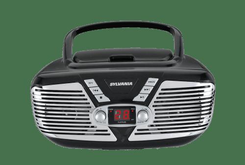 small resolution of sylvania srcd211 portable cd boombox with am fm radio retro style black walmart com