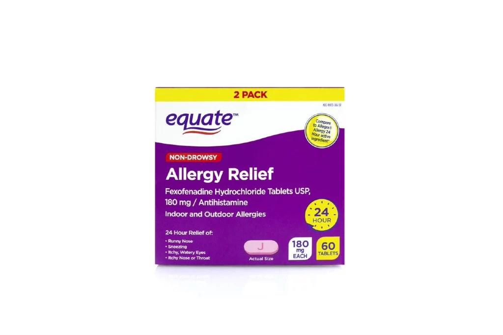 Equate Eq Allergy Fexofenadine Hcl 2x30 count - Walmart ...
