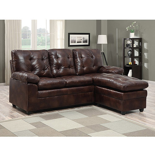 buchannan faux leather sectional sofa with reversible chaise chestnut teal colour schemes vogue bonded ...