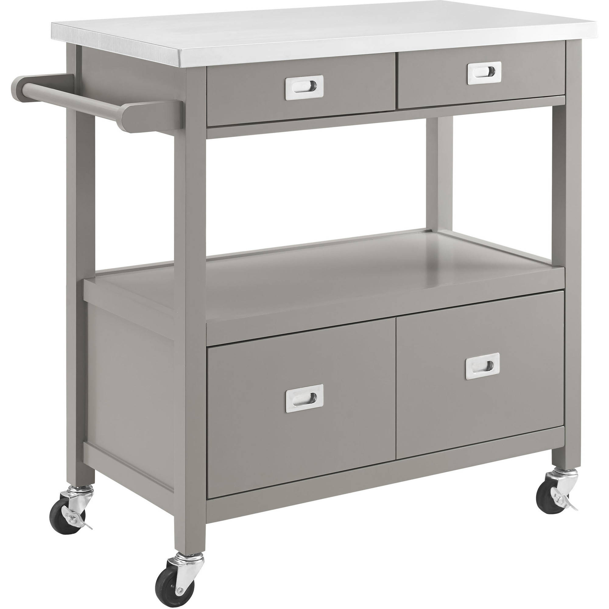 kitchen cart with drawers grill linon sydney gray stainless steel top 4