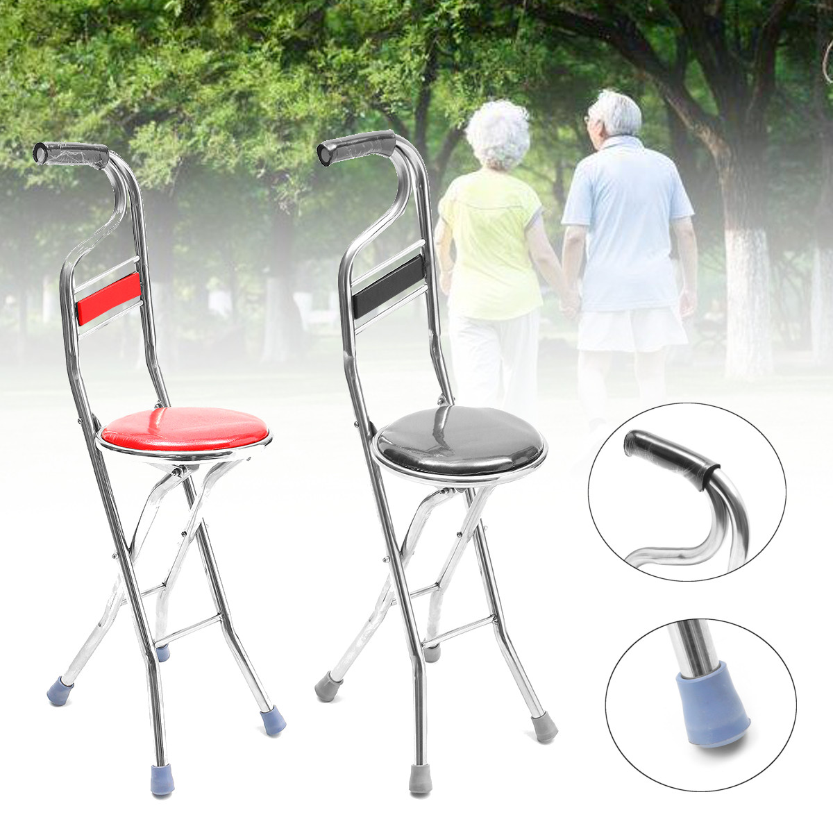Grtsunsea 2 in 1 Adjustable Stainless Walking Cane Stick
