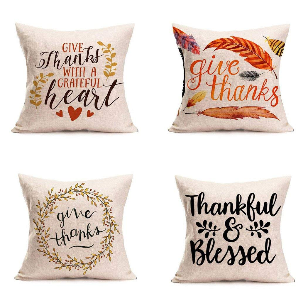 happy thanksgiving day pillow covers 4 pack fall decor cotton linen give thanks sofa throw pillow case cushion covers 18 x 18 inch