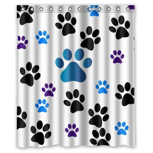 mohome dog paw prints shower curtain waterproof polyester fabric shower curtain size 60x72 inches