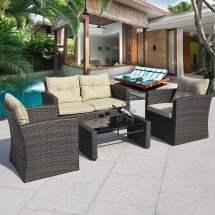 Costway 4 Pcs Cushioned Wicker Patio Sofa Furniture Set