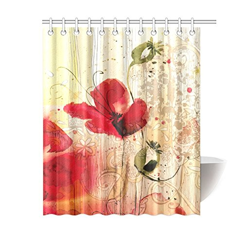 mypop poppy shower curtain set red poppy flower beige floral fabric shower curtain digital art bathroom 60 x 72 inches