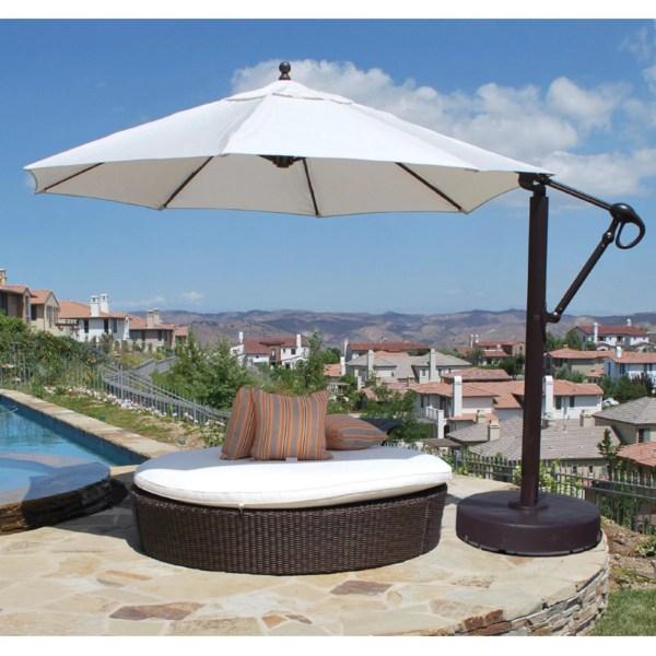 Galtech 11 Ft. Cantilever Aluminum Sunbrella Patio Umbrella With Wheeled Base