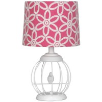Your Zone Bird Cage Lamp with Floral Pink and White Shade ...