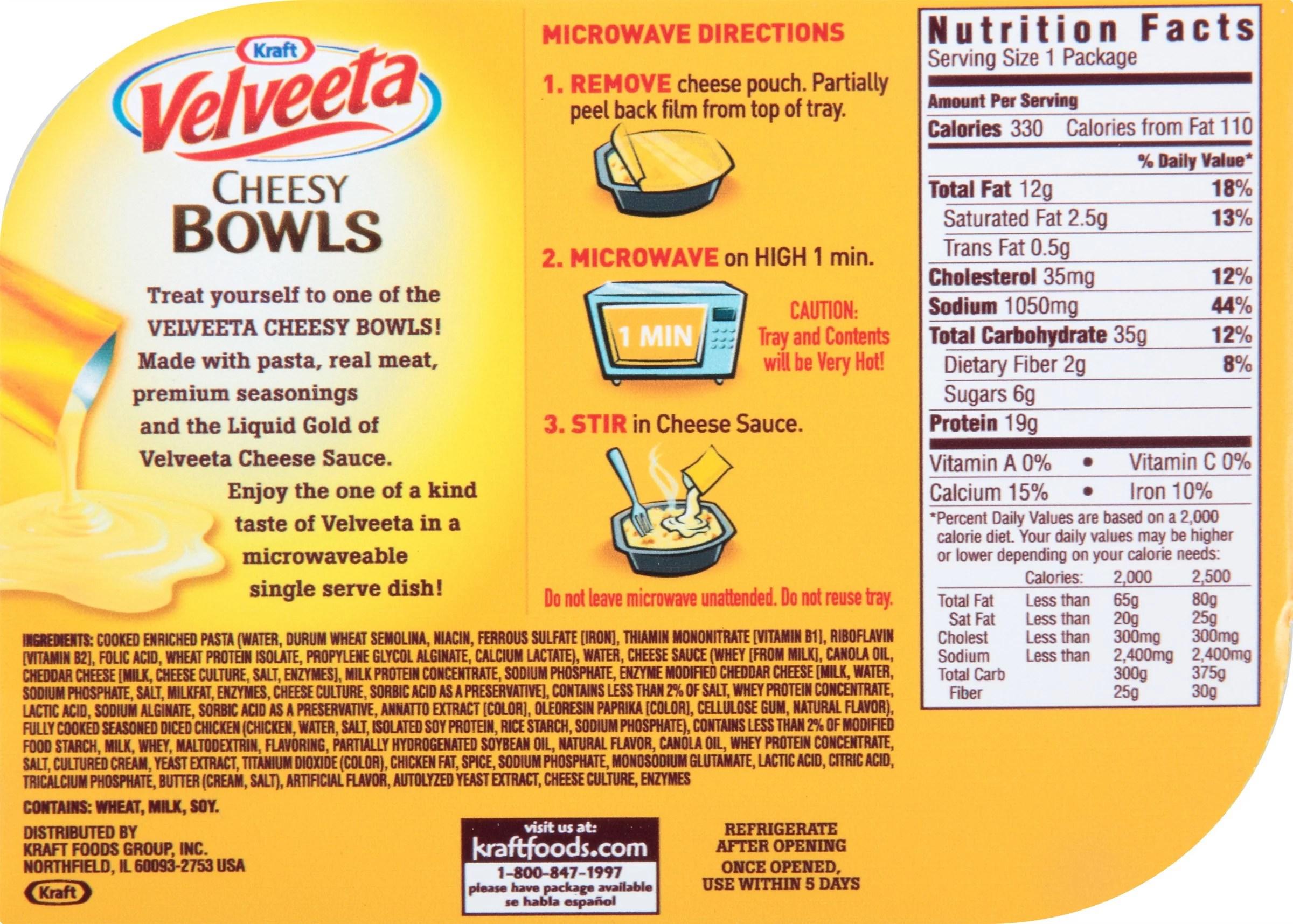 20 Fresh Velveeta Nutrition Label