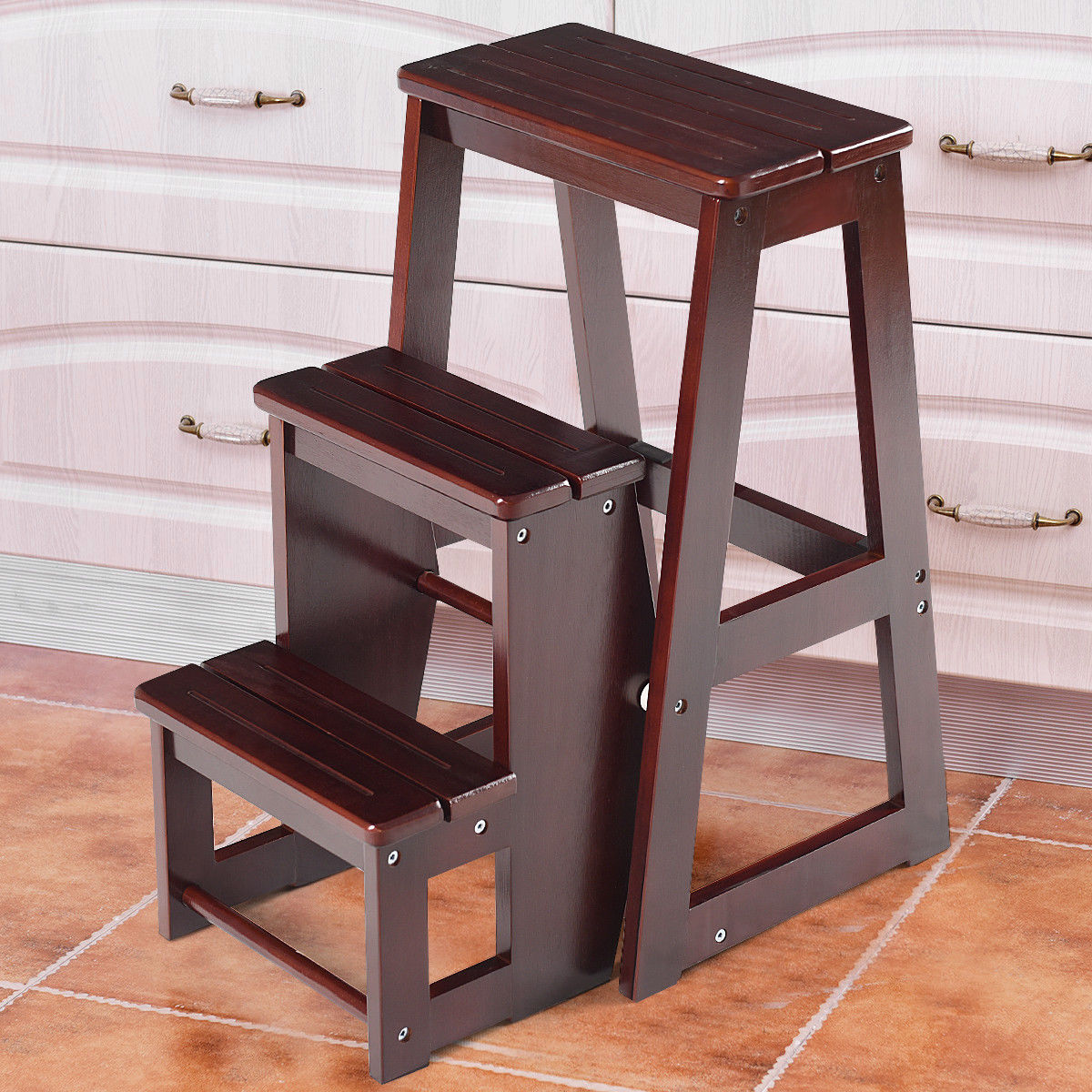 Wooden Step Stool Chair Costway Wood Step Stool Folding 3 Tier Ladder Chair Bench