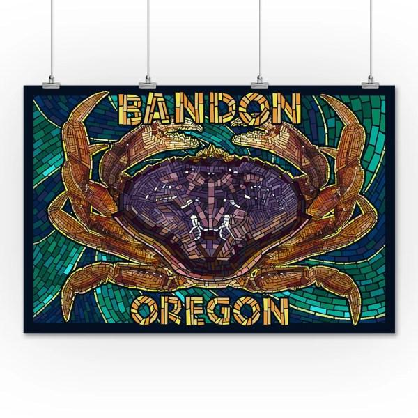 Bandon Oregon - Dungeness Crab Mosaic Lantern Press Artwork 36x54 Giclee Print Wall