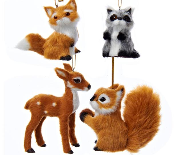 Club Pack Of  Fox Raccoon Reindeer And Squirrel Plush Woodland Animal Christmas Ornaments