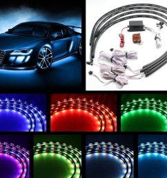 7 color 4pcs led strip under car tube underglow underbody system neon lights kit 90cmx120cm walmart com [ 1000 x 881 Pixel ]