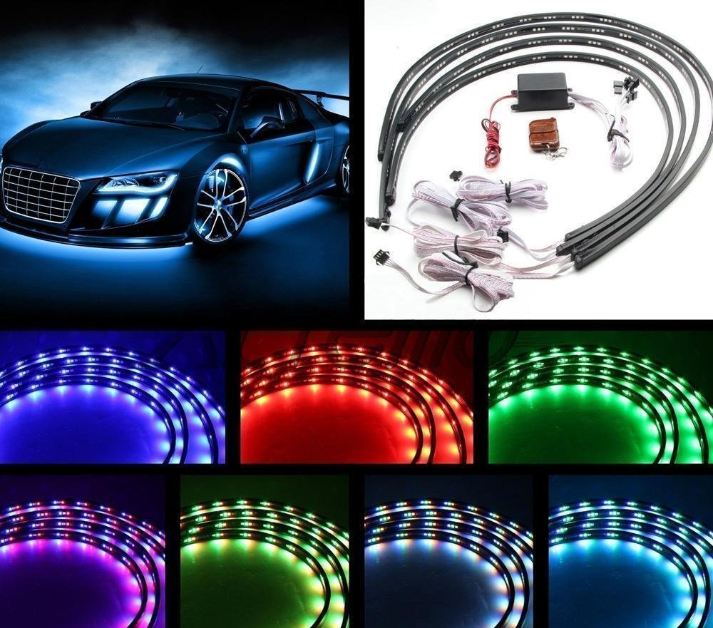 hight resolution of 7 color 4pcs led strip under car tube underglow underbody system neon lights kit 90cmx120cm walmart com