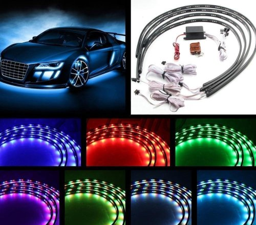small resolution of 7 color 4pcs led strip under car tube underglow underbody system neon lights kit 90cmx120cm walmart com
