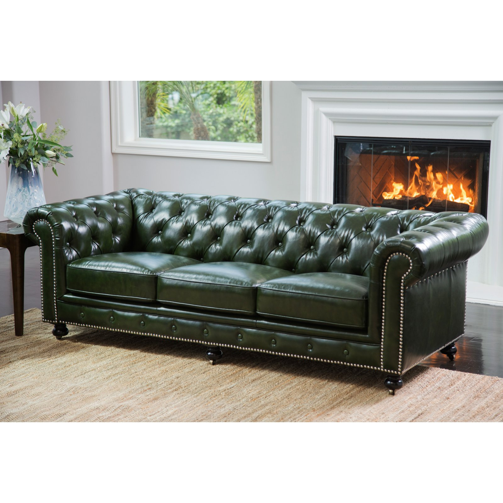 abbyson leather sofa pull down sleeper xavier top grain waxed chesterfield