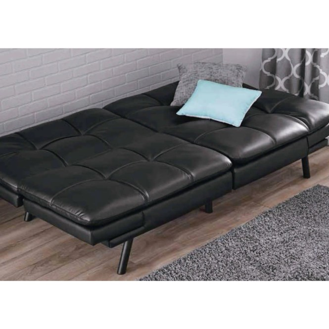 Mainstays Memory Foam Mattress Black Faux Leather Futon Arm Rest Sofa Bed Couch