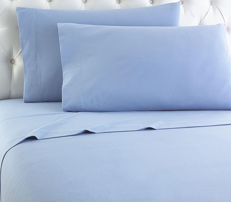 empire home heavy winter flannel 100 cotton sheet set fitted flat pillow cases deep pocket light blue queen size walmart com