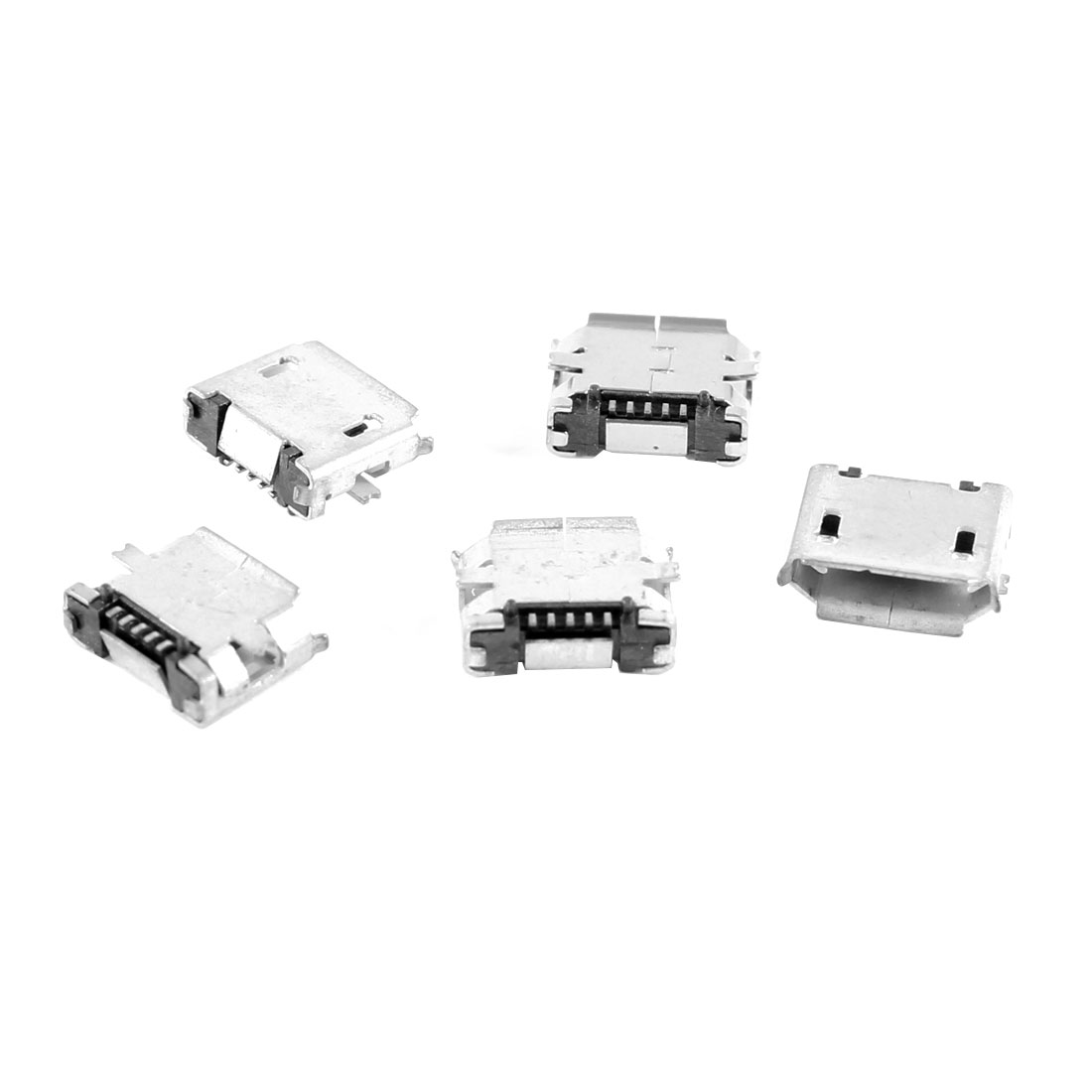 5 Pcs Micro USB B Female Socket 180 Degree 5-Pin SMD SMT