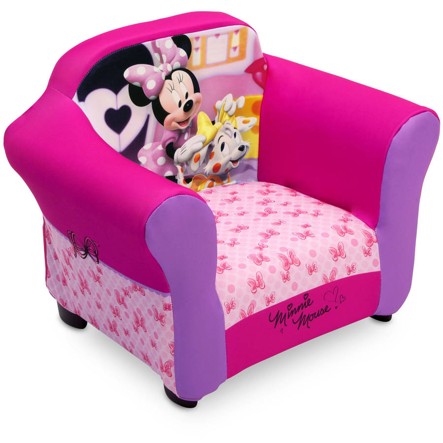 minnie mouse chair walmart steel folding chairs upholstered sofa with cushion pads for kids toddler room pink
