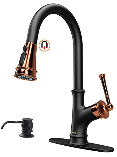 appaso matte black and rose gold pull down kitchen faucet with magnetic docking sprayer single handle high arc one hole pull out kitchen sink faucet