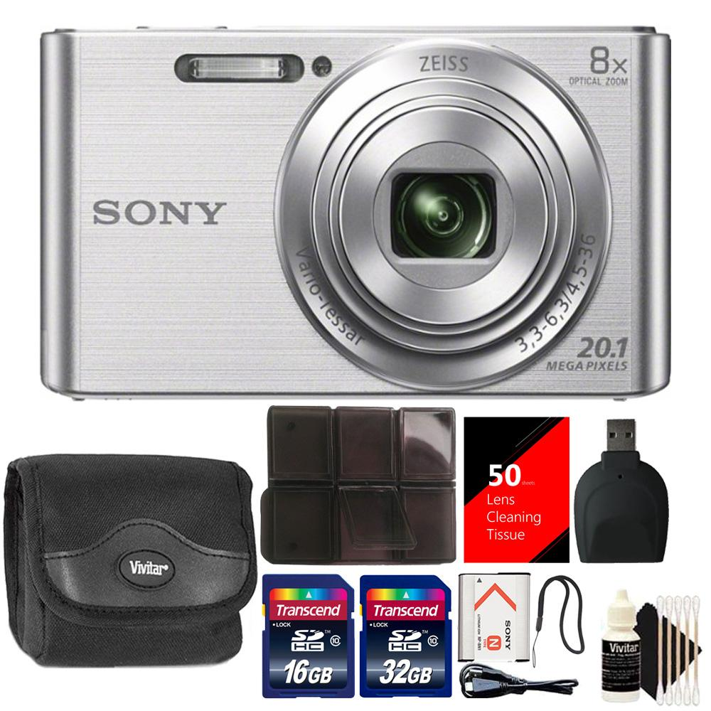 Sony DSC-W830 20.1MP Point and Shoot Digital Camera (Silver) with 48GB Accessory Kit