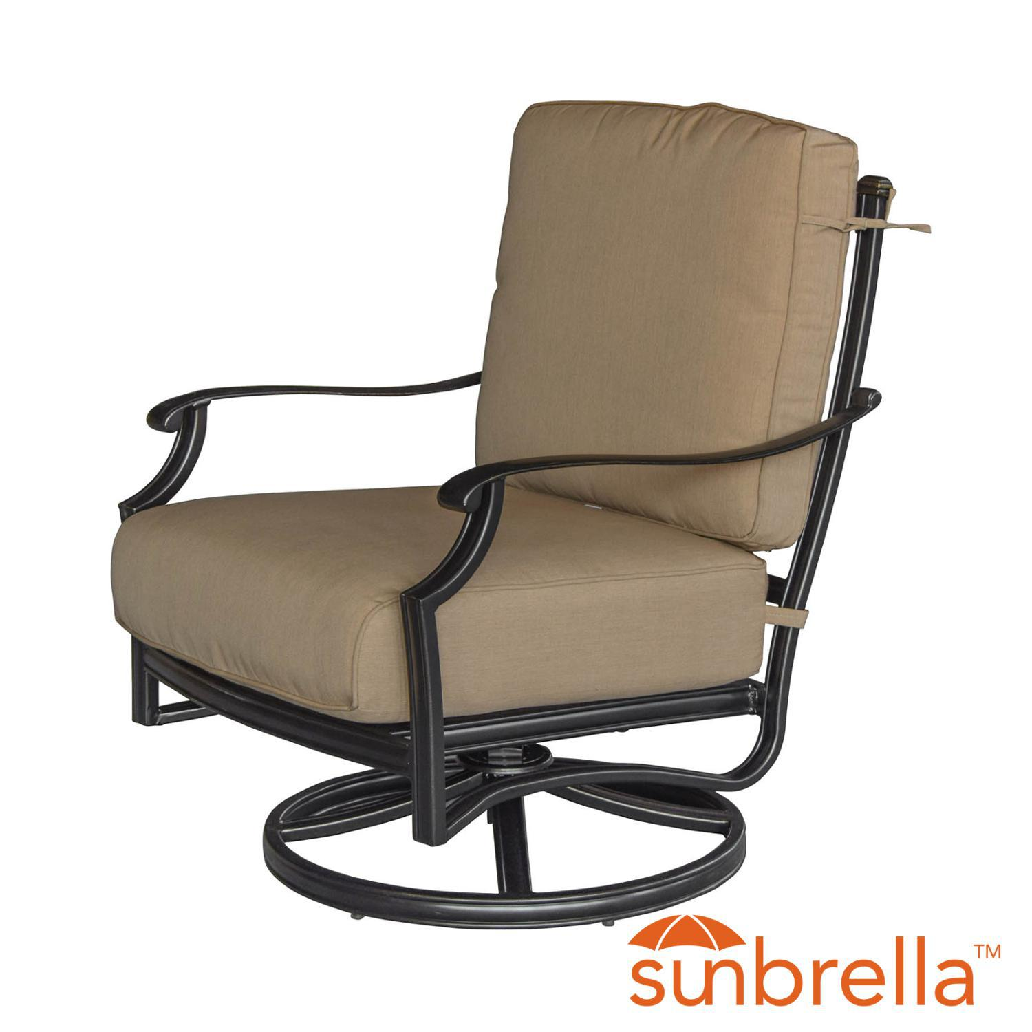 swivel chair in spanish painting metal folding chairs bocage cast aluminum patio rocker club w sunbrella heather beige cushions by lakeview outdoor designs walmart com