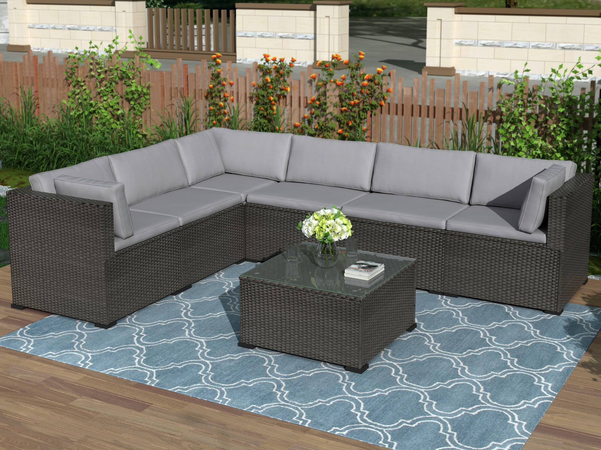 patio furniture set outdoor sectional conversation set 7 pcs outdoor furniture set with soft cushions coffee table modern all weather wicker