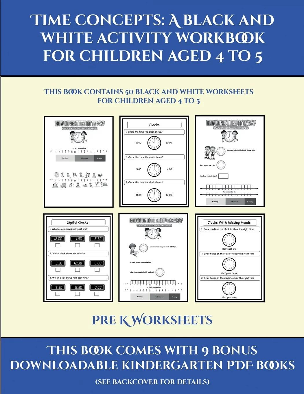 Pre K Worksheets Pre K Worksheets Time Concepts A Black