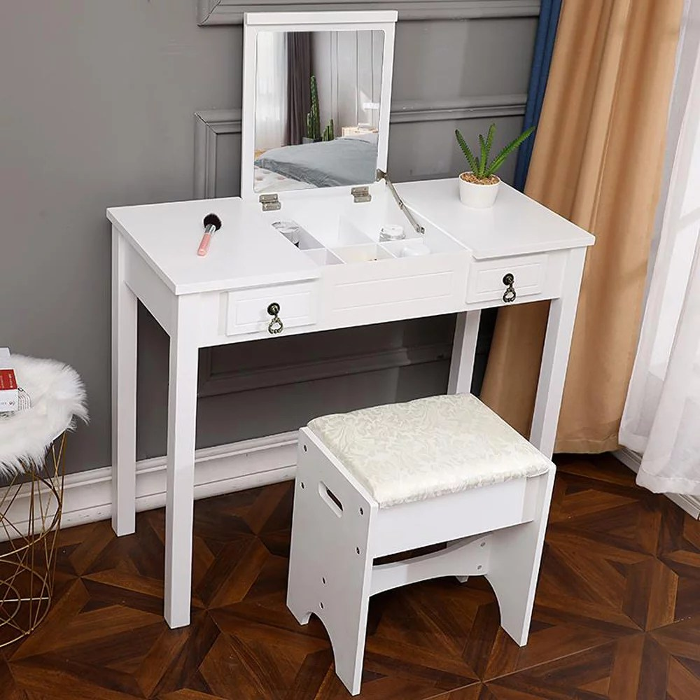 ktaxon vanity set flip top mirror dressing table makeup vanity table writing desk with 2 drawers and stool white