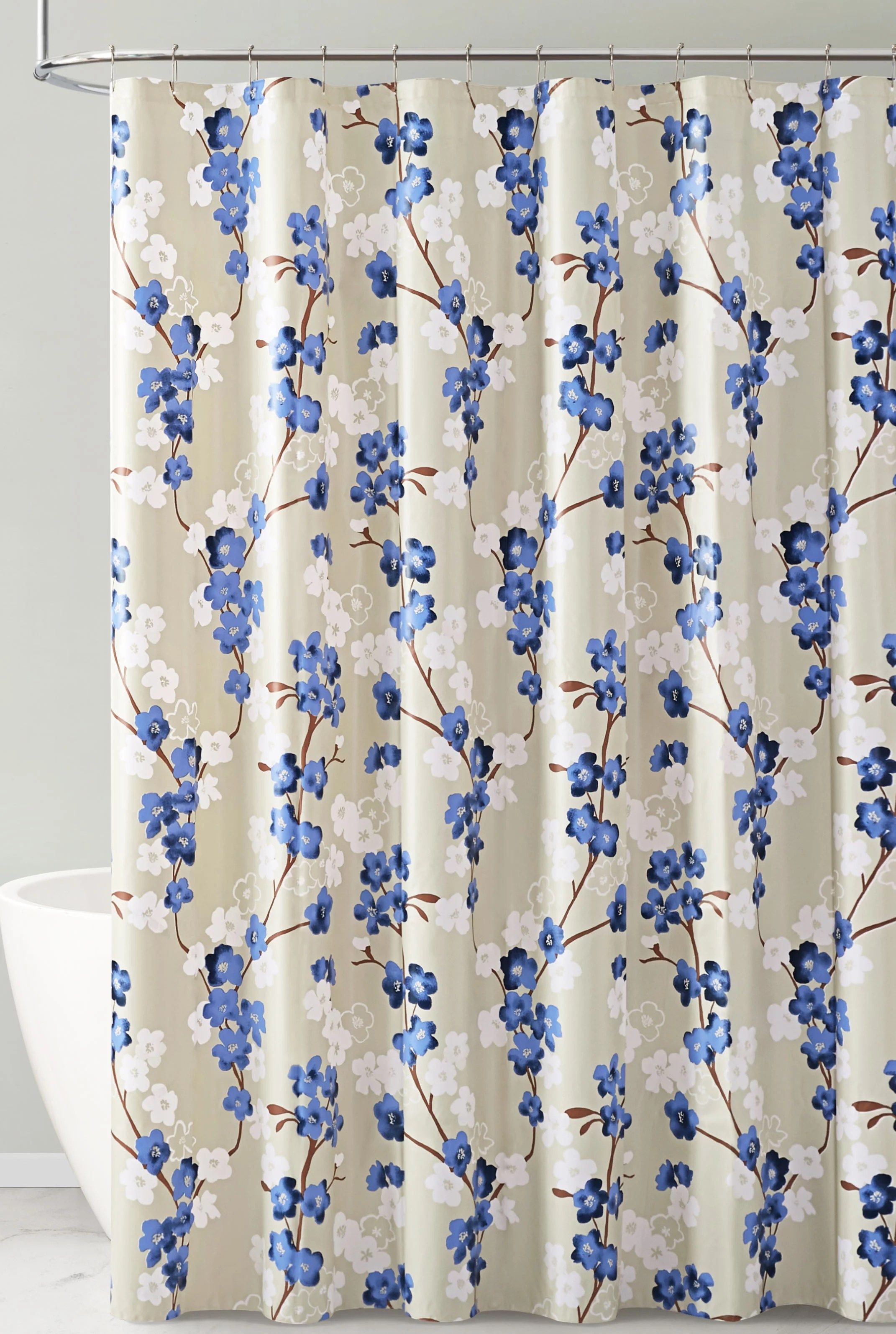 navy white and taupe floral design peva shower curtain liner odorless pvc and chlorine free biodegradable mildew free eco friendly size 72in x
