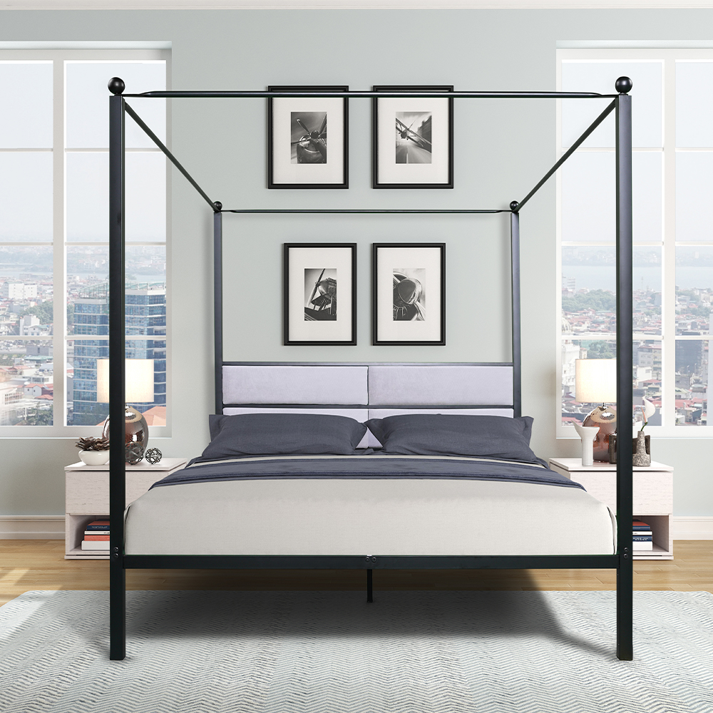 metal canopy bed frame queen size modern four poster bed frame with upholstered headboard heavy duty platform mattress support no box spring