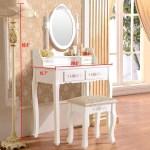 Ubesgoo Elegance White Dressing Table Vanity Table And Stool Set Wood Makeup Desk With 4 Drawers Mirror Walmart Com Walmart Com