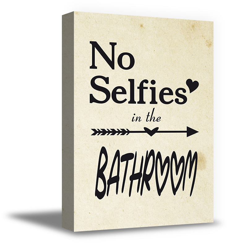 Awkward Styles No Selfies In The Bathroom Canvas Funny Art Decals Printed Wall Art For Home