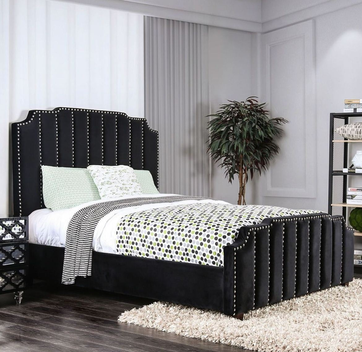 Contemporary Beautiful Classic Lovely Black Color Flannelette Fabric California King Size Bed Relax Bedframe Nailhead Trim Bedroom Furniture Walmart Com Walmart Com