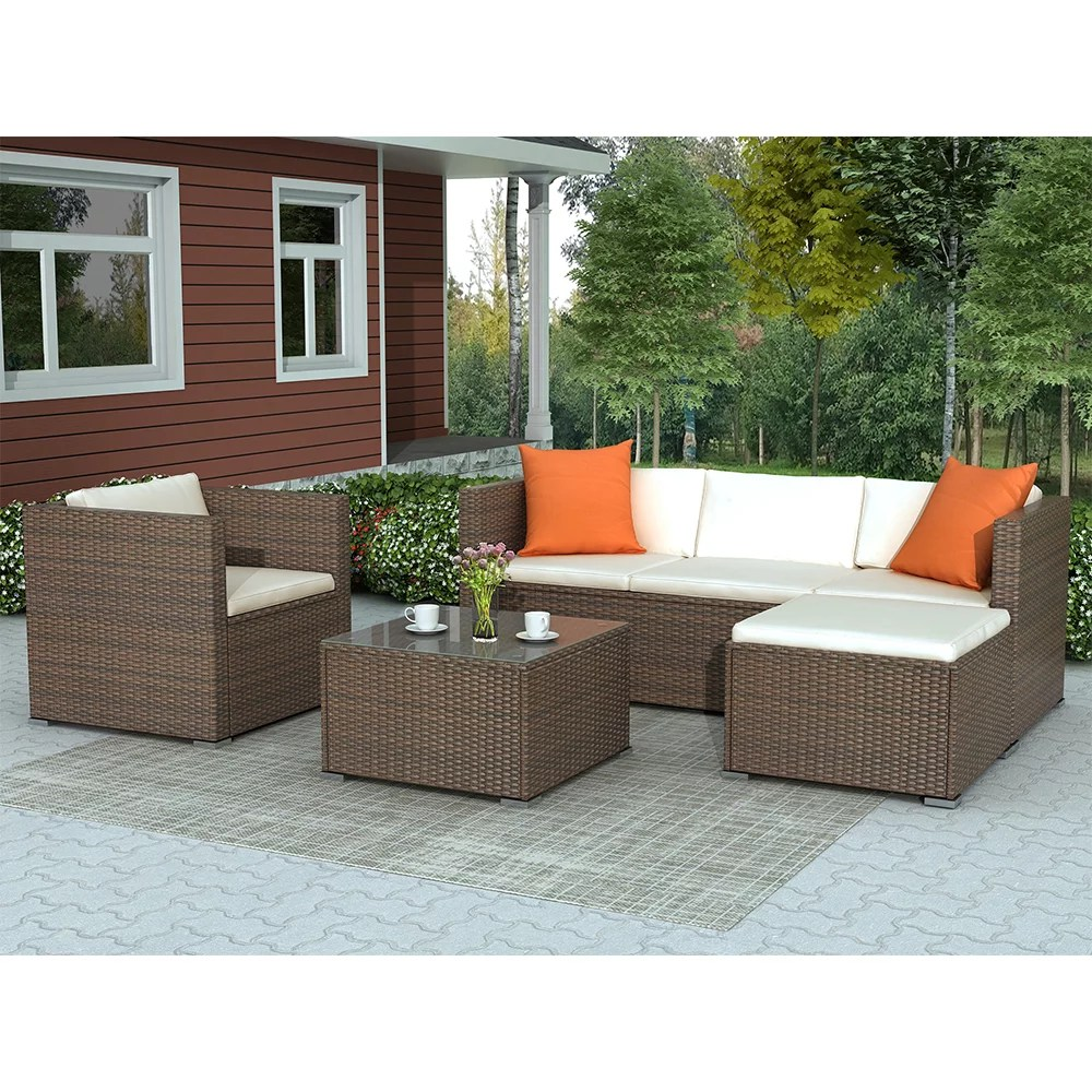 patio furniture sets clearance 4 piece outdoor sectional sofa set with 3 seat sofa and ottoman armchair coffee table all weather wicker furniture